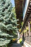 Architettura di legno del monastero di Troyan in Bulgaria Immagini Stock