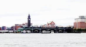 Architettura di lungomare di Hoboken su Hudson River Fotografia Stock