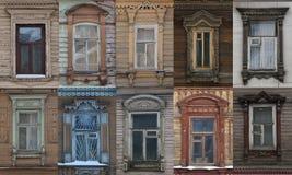 Architettura di pizzo di legno di vecchie case di legno in Russia fotografia stock