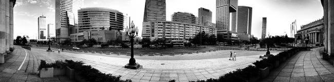 Architettura di Varsavia Sguardo artistico in bianco e nero Fotografie Stock Libere da Diritti