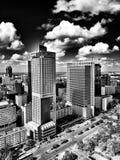 Architettura di Varsavia Sguardo artistico in bianco e nero Immagine Stock