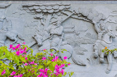 Architettura e fiori della Cina su priorità alta Fotografie Stock Libere da Diritti