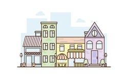 Architettura esteriore del fumetto, posto turistico, facciata per l'illustrazione del progetto di urbanistica di affari, fondo pe royalty illustrazione gratis
