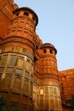 Architettura esterna della fortificazione rossa Agra, India Fotografia Stock Libera da Diritti