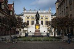 Architettura Figu storico del monumento di Lipsia Alte Boerse Goethe Fotografia Stock Libera da Diritti