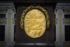 Architettura Figu storico del monumento di Lipsia Alte Boerse Goethe Fotografia Stock