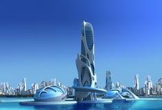 Architettura futuristica della città per la fantasia ed il ill della fantascienza immagini stock