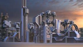 Architettura futuristica di un orizzonte della città Immagini Stock