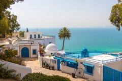 Architettura Mediterranea in Sidi Bou Said, Tunisia, Africa fotografia stock libera da diritti