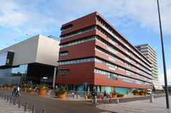 Architettura moderna in Almere del centro, Olanda Fotografie Stock