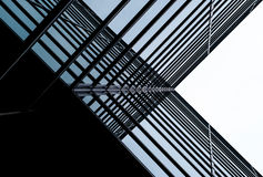 Architettura moderna X blu Fotografie Stock