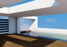 Architettura moderna con lo stagno Fotografia Stock