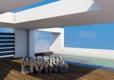 Architettura moderna con lo stagno Fotografie Stock
