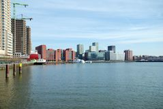 Architettura moderna di Rotterdam nei Paesi Bassi fotografia stock