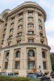 Architettura monumentale del periodo sovietico a Bucarest, Romania fotografie stock