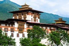 Architettura spettacolare di Punakha Dzong Immagine Stock Libera da Diritti