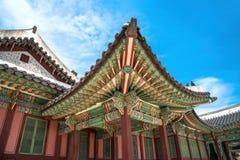 Architettura squisita delle costruzioni nel palazzo di Changdeokgung Immagine Stock
