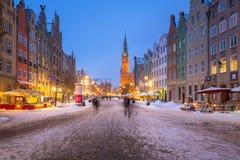 Architettura storica di vecchia città a Danzica, Polonia Immagini Stock Libere da Diritti