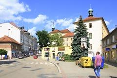Architettura sulle vie della città Benesov Fotografie Stock