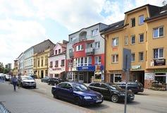 Architettura sulle vie della città Benesov Fotografia Stock