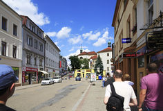 Architettura sulle vie della città Benesov Fotografia Stock Libera da Diritti