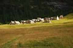 Architettura tipica alpina, Alpe Veglia. Fotografia Stock Libera da Diritti