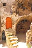 Architettura tradizionale del villaggio di Oia immagine stock libera da diritti