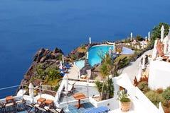 Architettura tradizionale del villaggio di OIA sull'isola di Santorini Fotografia Stock Libera da Diritti