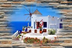 Architettura tradizionale del villaggio di OIA sull'isola di Santorini Immagini Stock Libere da Diritti