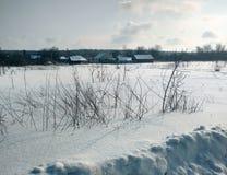 Architettura tradizionale russa Precipitazioni nevose, alberi, alta erba asciutta Fotografia Stock Libera da Diritti