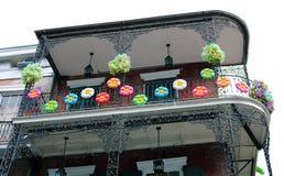 Architettura unica classica della casa variopinta del quartiere francese di New Orleans fotografie stock