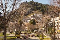 Architettura unica di Berat Fotografia Stock