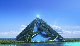 architettura verde futuristica 3D immagini stock libere da diritti