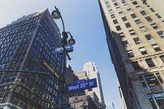 Architeture κτηρίων και ουρανοξυστών στο Μανχάταν, πνεύμα της Νέας Υόρκης Στοκ Φωτογραφίες