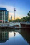 Architeture of city center and TV Tower in Berlin Royalty Free Stock Images