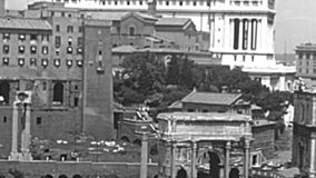 Archival aerial view of Campidoglio of Rome stock video footage
