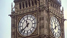 Archival Big Ben clock tower of London. Big Ben clock tower close-up and details of the Westminster Palace, the Parliament of United Kingdom. Archival of London stock video footage