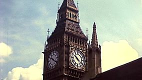 Archival Big Ben clock tower of London. Big Ben clock tower close-up and the Westminster Palace, the Londoner Parliament of United Kingdom. Archival of London stock footage
