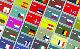 Archival boxes with EU flags. Colorful archival boxes with name labels and EU  flags Royalty Free Stock Photos