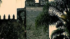 Archival Cathedral of Cuernavaca of Mexico. Mexican Cathedral of Cuernavaca. Bell tower and garden. Archival of Mexico in Morelos state, South America in 1970s stock footage