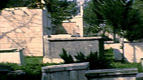 Archival cemetery of Bethlehem. Cemetery of the Bethlehem town. Historic archival footage of Israel and Palestine in the 1970s, during the occupation of Israel stock footage