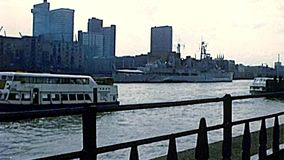Archival Cruise boat in Westminster in London stock footage