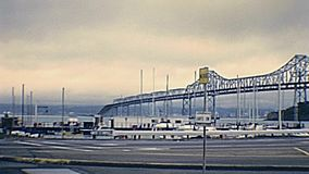 Archival Bay Bridge. Archival footage of old Bay Bridge to Oakland, from Treasure Island of San Francisco in eighties. San Francisco in year 1980, California stock footage