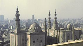 Archival Mosque of Muhammad Ali. Aerial view from the rooftop of the Mosque of Muhammad Ali of Cairo city. Historical archival of Cairo capital of Egypt in 1980s stock video footage