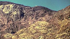 Archival panorama of the Mount Sinai. Archival of the Mount Sinai of Egypt in the 1970s during the Israeli occupation until 1979. Location of the Unesco site St stock video footage