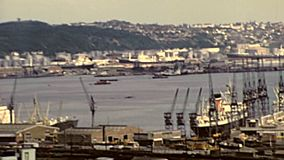 Archival panorama of Port of Durban stock video
