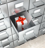 Archival storage locker. White box with a red bow. An envelope in a drawer. 3D illustration Royalty Free Stock Photography