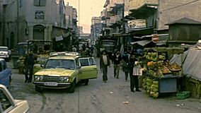 Archival streets market of Gaza stock footage