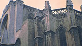 Archival Tarragona Cathedral clock tower stock video footage