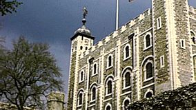 Archival Tower of London castle stock video footage